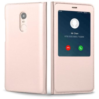 PU Leather Case Window View Flip Smart Cover for Xiaomi Redmi Note4X - intl