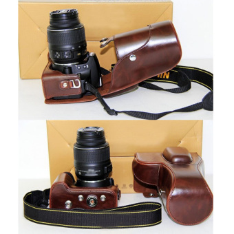PU Leather Digital Camera Case Bag Cover For Nikon DSLR SLR D3200D3100 Coffee