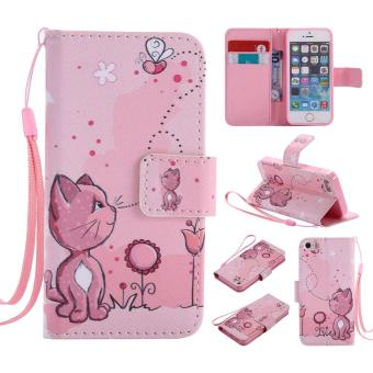 PU Leather Flip Wallet Case for Apple iPhone 5 5s SE - intl