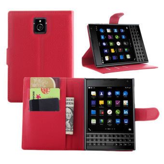 PU Leather Wallet Case Cover for BlackBerry Passport Q30 (Red) -intl