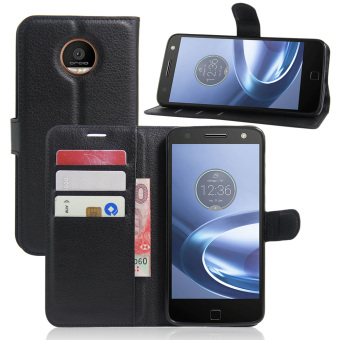 PU Leather Wallet Case Cover For Motorola Moto Z Play (Black)