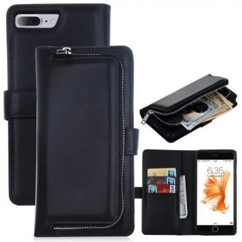 PU Leather Wallet Case Cover Pouch Bag for Apple iPhone 7 Plus(Black) - intl