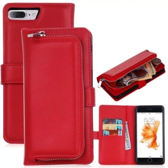 PU Leather Wallet Case Cover Pouch Bag for Apple iPhone 7 Plus(Red) - intl