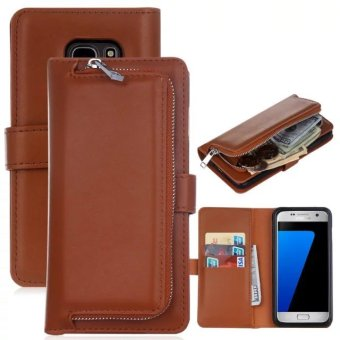 PU Leather Wallet Case Cover Pouch Bag for Samsung Galaxy S7 Edge (Brown) - intl