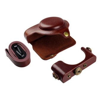 PU Protective Leather Camera Case Bag Pouch for Sony RX100III with Strap Coffee
