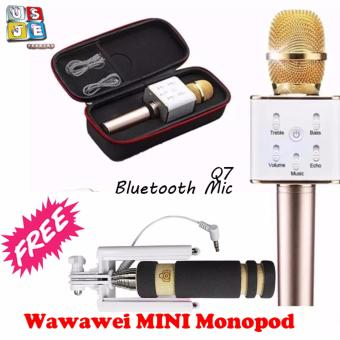 Q7 Bluetooth Microphone Wireless Rechargeable (Gold) with FREE MiniMonopod