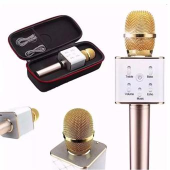 Q7 Mini KTV Karaoke Wireless Bluetooth Microphone with Mic Speaker Condenser with Case  (Gold)