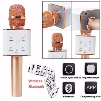 Q7 Portable Rechargeable Wireless Bluetooth Speaker Microphone Mic(Rosegold)