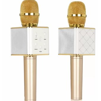 Q7 Portable Wireless Bluetooth Speaker Microphone Mic with 2600mAhLarge Capacity Battery for iOS and Android With Case (Gold) Set of2 Price in Philippines