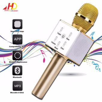 Q7 Wireless Bluetooth Microphone & HiFi Speaker Karaoke KTV (Gold)
