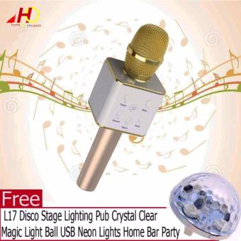Q7 Wireless Bluetooth Microphone & HiFi Speaker Karaoke KTV (White/Gold) with FREE L17 Disco Stage Lighting Pub Crystal Clear Magic Light Ball USB Neon Lights Home Bar Party
