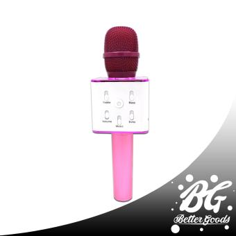 Q7 Wireless Bluetooth Microphone & HIFI Speaker (Pink/White)