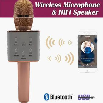 Q7 Wireless Bluetooth Microphone & HIFI Speaker (Rose Gold)