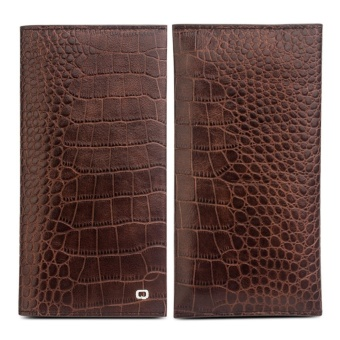 QIALINO Slim Bifold Genuine Leather Wallet Case with Card Slot andPhone Holder for Apple 7Plus/ Samsung S7 Edge/ Huawei Mate9Smartphone up to 6 inch - Crocodile Brown - intl