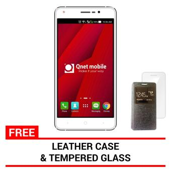 QNET Mobile Wisco 8GB (White) with FREE Leather Case and Tempered Glass