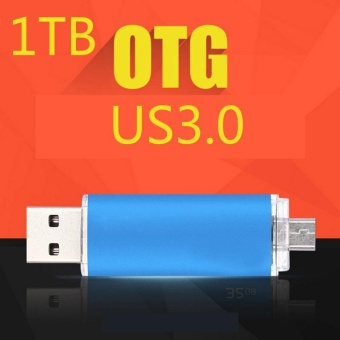 ~ READY STOCK ~ 1TB U Disk High-speed Read and Write USB3.0Practical Android Two Head Flash Drive Usb High-speed Transmissionof Metal Texture U Disk Memory Card (blue) - intl