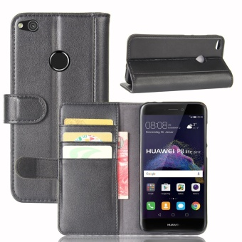 [Ready Stock] SZYHOME Phone Cases For Huawei P8 Lite (2017) / P9 LITE (2017) / GR3 2017 Luxury Retro Real Genuine Leather Wallet Flip Cover Solid Color Case Shell ( Black ) - intl