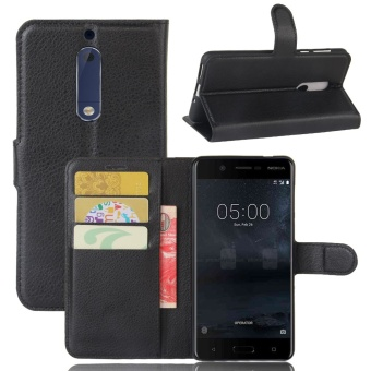 [Ready Stock] SZYHOME Phone Cases For Nokia 5 Luxury Retro LeatherWallet Flip Cover Solid Color Shell ( Black ) - intl