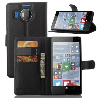 [Ready Stock] SZYHOME Phone Cases For Nokia Microsoft Lumia 950 XL Luxury Retro Leather Wallet Flip Cover Solid Color Shell ( Black ) - intl
