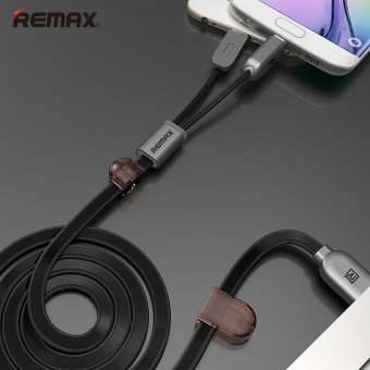 Remax Dual Heads IOS Micro USB Mobile Phone Data Fast Charge Cable2.1A for IOS Android Phone(100cm) - intl