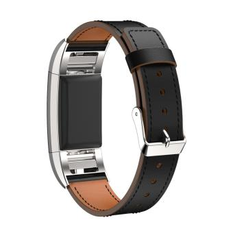 Replacement Luxury Leather Band Strap Bracelet For Fitbit Charge 2GN - intl