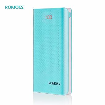 ROMOSS Sense 6 LED Dual USB Output 20000mAh Power Bank Portable Charger with LED Indicator (Cyan)