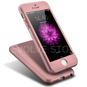 Roybens 360 Degree Full Body Protect Hard Slim Case Cover with Tempered Glass for iPhone 5/5S/5SE (RoseGold)(Export)