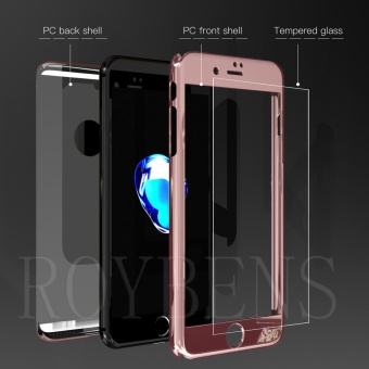 Roybens Mirror Hybrid 360? Hard Thin Case + Tempered Glass Cover For iPhone 7 Plus RoseGold - intl - 2