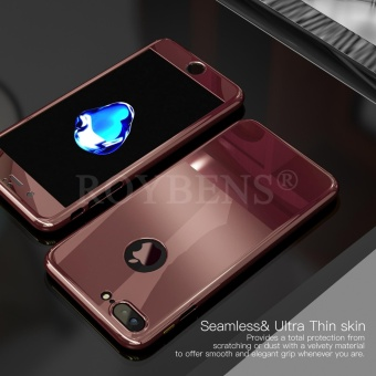 Roybens Mirror Hybrid 360? Hard Thin Case + Tempered Glass Cover For iPhone 7 Plus RoseGold - intl