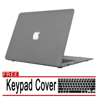 Rubberized Protective Case Cover For Apple Macbook Retina 13 inch(Grey) with Free Keyboard Cover / Protector (Black)