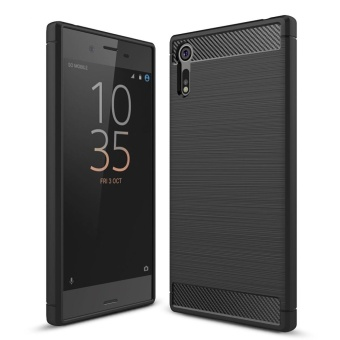 Rugged Armor Case For Sony Xperia XZ Carbon Fiber Resilient DropProtection Anti-Scratch Cover Black - intl