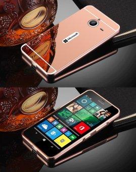 RUILEAN Luxury Metal Aluminum Bumper for Microsoft Lumia 640 XLCase Detachable + Mirror Hard Back 2 in 1 Cover Ultra Thin FramePink - 2