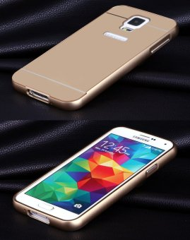 RUILEAN Luxury Metal Aluminum Bumper Frame + Acrylic PC Hard Back Panel Case Cover for Samsung Galaxy S5 (Gold)