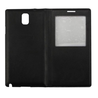 S View Window PU Leather Case Flip Cover for Samsung Galaxy Note 3N900 N9000 N9005 (Black) - Intl - 2