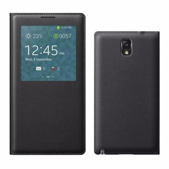 S View Window PU Leather Case Flip Cover for Samsung Galaxy Note 3N900 N9000 N9005 (Black) - Intl