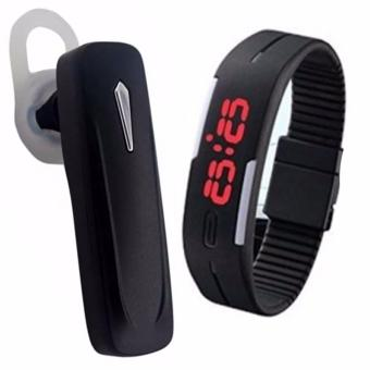 S163 Bluetooth V4.1 Headset (Black) with LED Watch Color May Vary