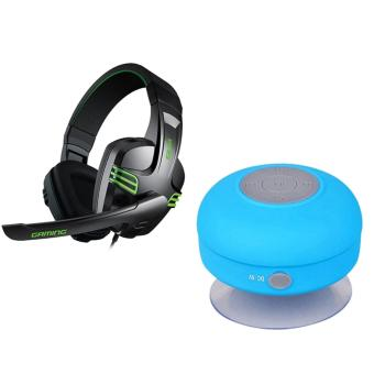 Salar KX-101 Over-the-Ear Gaming Headset (Black) With WaterResistant Silicone Bluetooth Speaker (Blue)