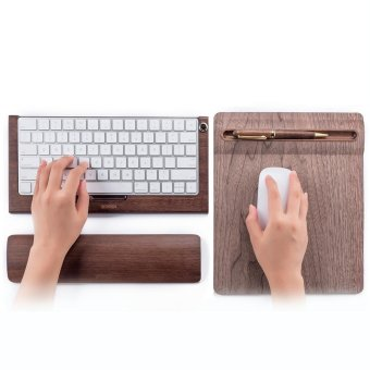 SAMDI Bamboo Wireless Magic Keyboard Stand Dock Holder + SoftWooden Mouse Mat + Wooden Keyboard Wrist Rest Pad for Apple IMac -intl - 3