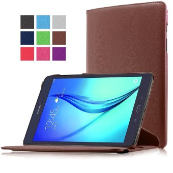 Samsung Galaxy Tab A 9.7 SM-T550 9.7-Inch Tablet Case - PU Leather Rubberized Hard Shell 360 Degree Rotating Stand Auto Sleep Wake Smart Cover (Brown)