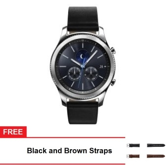 Samsung Gear S3 Classic Smart Watch (Silver) with Free Black & Brown Straps