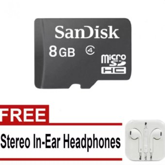 Sandisk Class 4 8Gb Microsd Memory Card (Black) With Free StereoIn-Ear Headphones (White