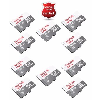 Sandisk Ultra Micro SDHC Class 10 UHS-I 16GB SDSQUNS-016G - NEW MODEL (Speed up to 80MB/s) (SET OF 10)