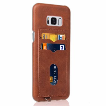 SANHE Phone Anti-drop Protection Hard Plastic PC Cases Soft PULeather Covers Skins Backside Cards Insert with Chain Strap HoopFor Samsung Galaxy S8 plus 6.2inch - intl - 3