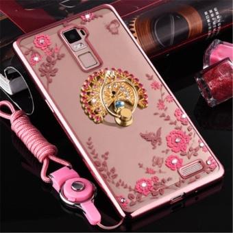 Secret Garden Plating TPU phone case For Oppo R7 Plus (RoseGold+Peacock) -