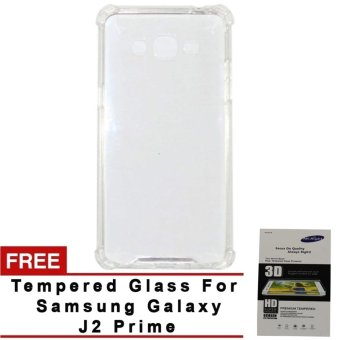 Shock-proof Back Case for Samsung Galaxy J2 Prime white with freetempred glass