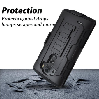 Shockproof Heavy Duty Protection Hybrid Full Body Rugged Case Rubber Dual Layer Holster Cover for LG G3 with Kickstand - intl - 4