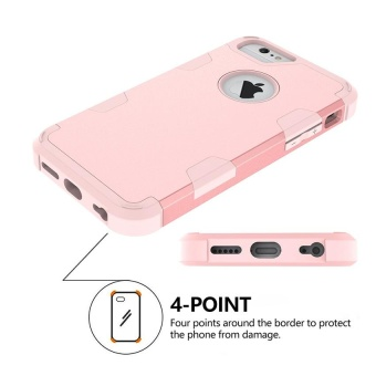 Shockproof Hybrid Silicone Rubber Protective Hard Case Cover for Apple iPhone 6s Plus Rose Gold - intl - 4