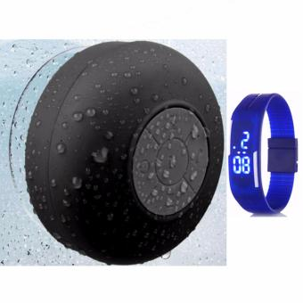 Shower Bluetooth Speaker (Black) with Led Watch Color May Vary Price Philippines