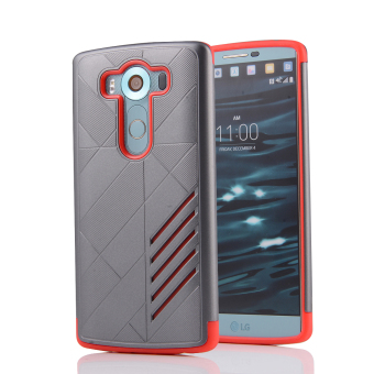 Silicon + PC Combo Case for LG V10 (Grey+Red)