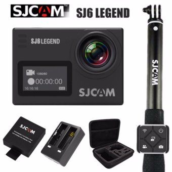 SJCAM SJ6 Legend 16MP Action Camera (Black) SJCAM Monopod Stick with Waterproof Smart RF Remote Shutter (Black) SJCAM Battery with Dual Charger and Large Case